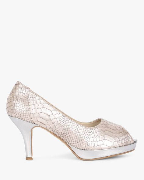 5b83c1798dd Textured Heeled Peep-Toe Shoes  peeptoeshoes Fila Shoes Womens