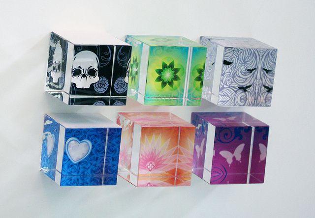 Art Paperweight Glass Cubes   https://www.etsy.com/shop/BromArt