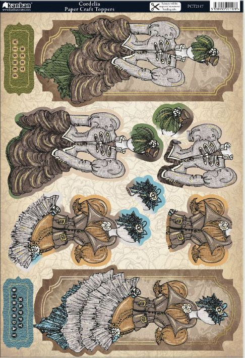 Kanban Steam Punk foiled & die cut toppers - Cordelia