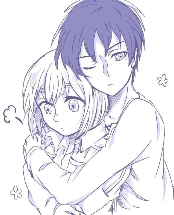 anime siblings hugging