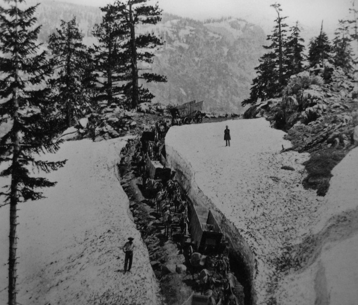 The Donner Pass, possibly taken in the 1860s during the construction of the Central Pacific Railroad