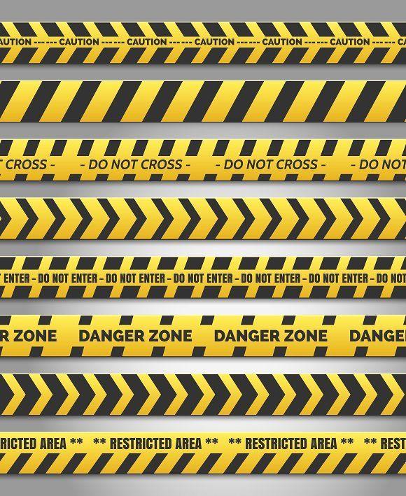 Caution Yelow Tape Set Caution Tape Caution Yelow