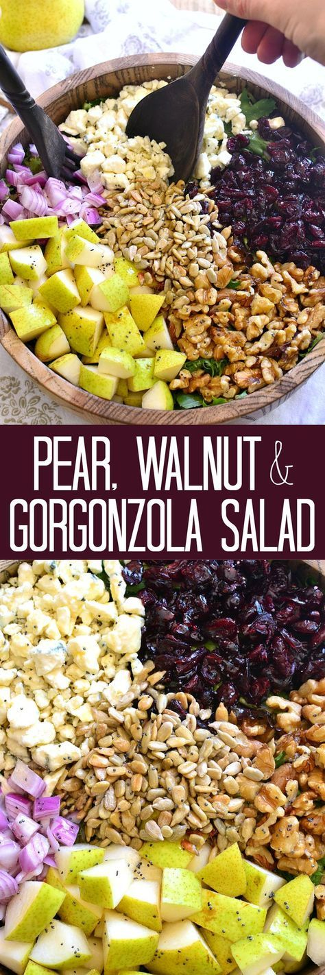 This Pear, Walnut & Gorgonzola Salad is perfect for fall! Loaded with fresh pears, walnuts, dried cranberries, sunflower seeds, green onions, and gorgonzola cheese, it's ideal for holidays and fall gatherings!