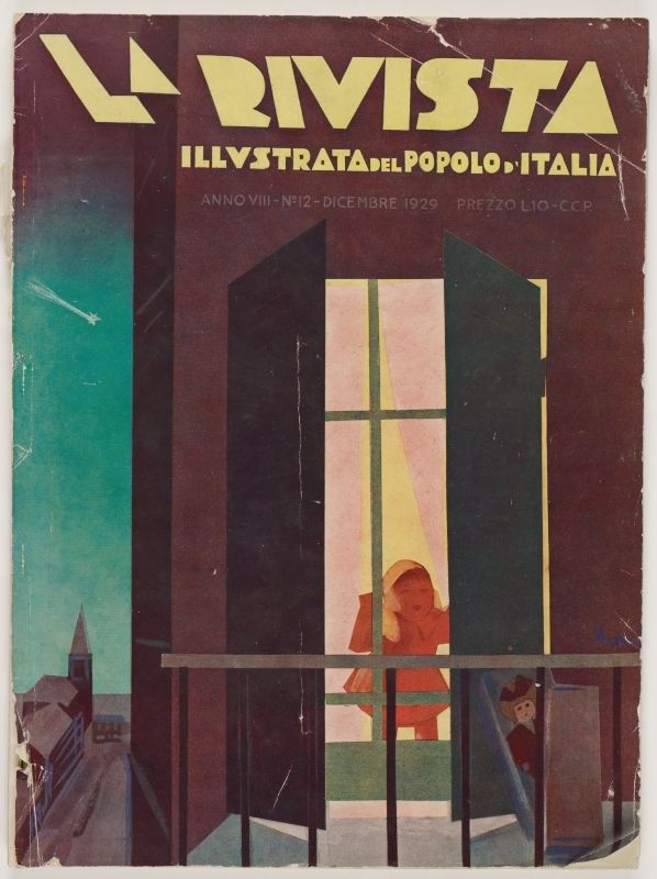La Rivista, anno VIII, n. 12 (Dicembre, 1929), front cover: [Illustration of a child looking through a window at a doll emerging from a box, signed] Nizzoli