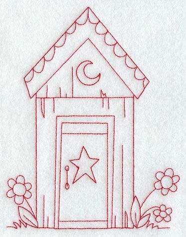 Image detail for -... Designs at Embroidery Library! - Country Outhouse (Redwork