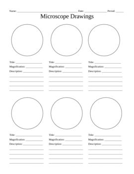 Use this blank handout as a way for students to record microscope drawings. Aside from the drawig itself, studnts are prompted to title the drawing, include the magnification of the microscope, and give a quick description of what they are viewing.  Keywords: Microscope Drawings Lab Biology