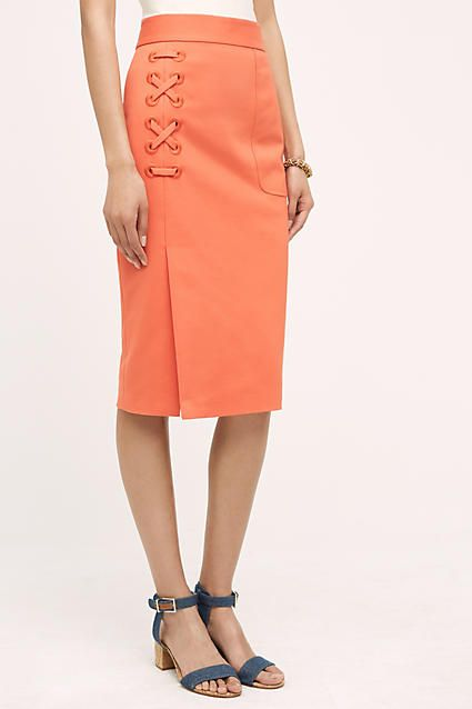 Lace-Up Pencil Skirt - anthropologie.com