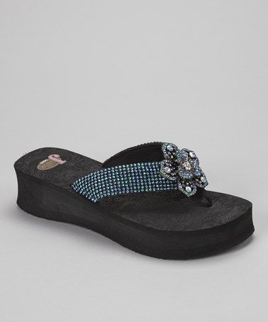 Take a look at this Black & Blue Abigail Platform Flip-Flop - Women by Justin Boots on #zulily today!