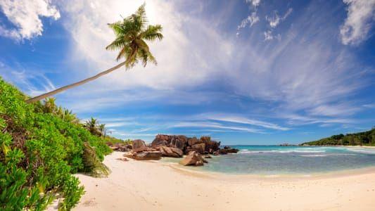 Panorama of beautiful beach at Seychelles