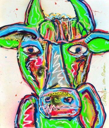 Kleurige Koe op wit
