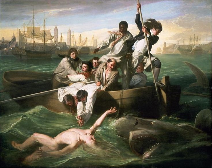 Watson and the Shark, by John Singleton Copley.  Depicts the first medically documented shark attack, in which 14 year old Brook Watson lost his foot and calf to a shark after falling overboard near Havana, Cuba.  Brook had the leg amputated and eventually grew up to be Lord Mayor of London.