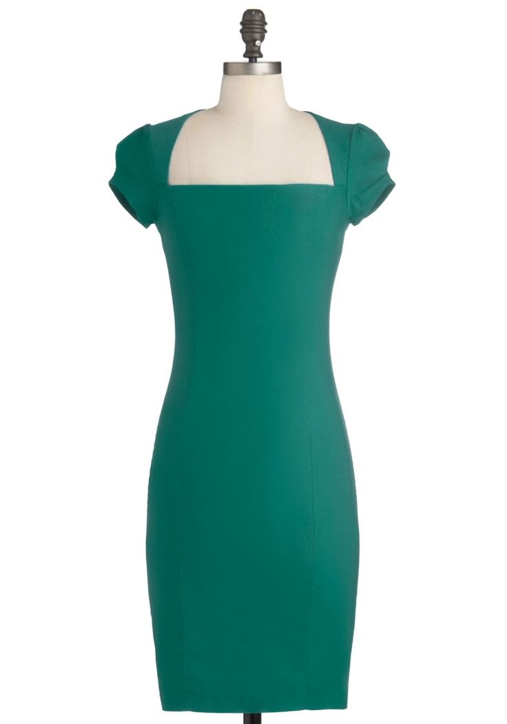 Sleek it out dress in jade green solid work sheath for Sleek wedding dresses with sleeves