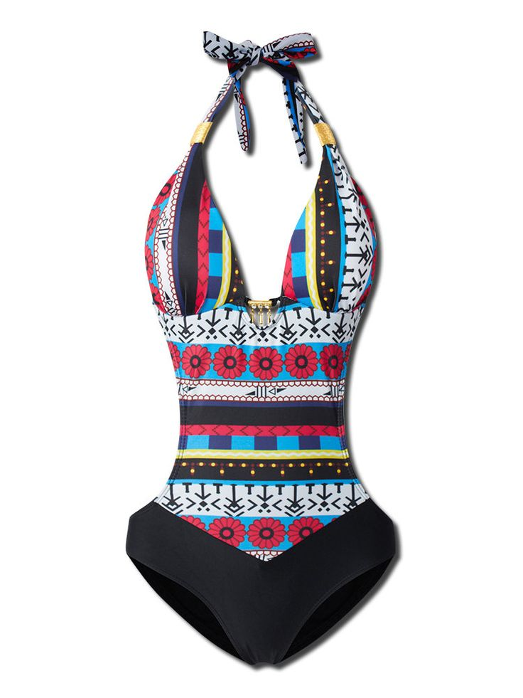 Sexy Halter Hollow Spliced Printed Bohemia Padded One-Piece Swimsuit Beachwear at Banggood