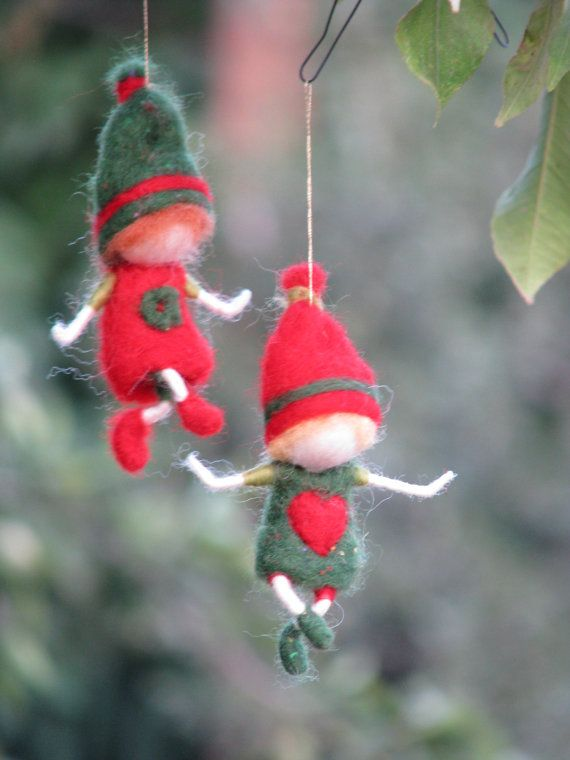 Needle felted waldorf inspired Christmas gnome's by Made4uByMagic