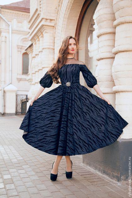 """Купить Платье """"Ализ"""" - тёмно-синий, Синее платье, вечернее платье, винтаж, винтажный стиль"""