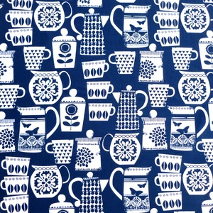 Michael Miller House Designer - Retro Kitchen - Put A Lid On It in Navy - kitchen valances - in blue, charcoal or yellow?
