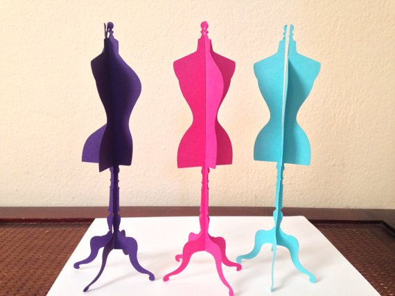 stunning 3D Dress Form - at 9 inches tall- perfect for weddings - bridal showers - Parisian party theme - fashion event