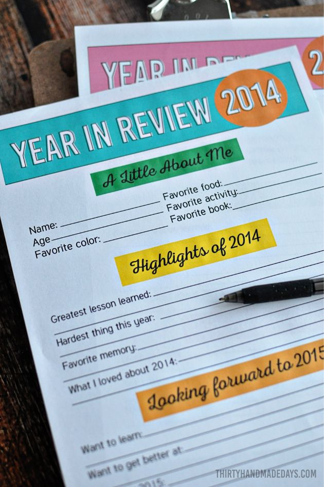 New Year's Resolutions and Year in Review for Kids - fill in the blanks and keep fort the future
