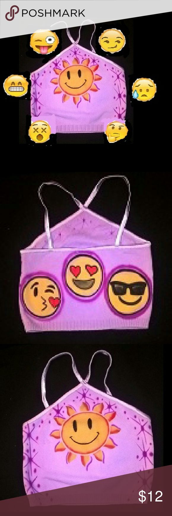 Airbrushed emoji spaghetti strap top This is a lavender spaghetti strap juniors top size small.  This has never been worn,  it was a sample I made to show off some emojis. This tool has been sitting on a box for a couple years The front of the top shows off  a sun emoji with purple star burst.  The back of the top has 3 emoji , sunglass,  happy and Blowing a kiss Emoji Tops Crop Tops