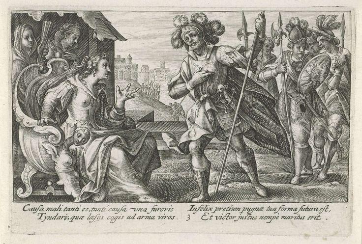 Crispijn van de Passe (I) | Paris verklaart zijn liefde aan Helena, Crispijn van de Passe (I), 1613 | Paris verklaart zijn liefde aan Helena van Troje, na een gevecht met haar echtgenoot Menelaos. In de marge een vierregelig onderschrift, in twee kolommen, in het Latijn.