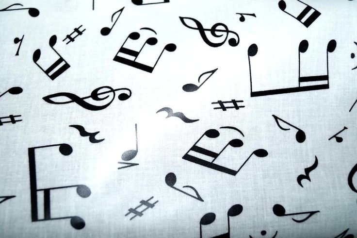 Tafelzeil muzieknoten wit/zwart