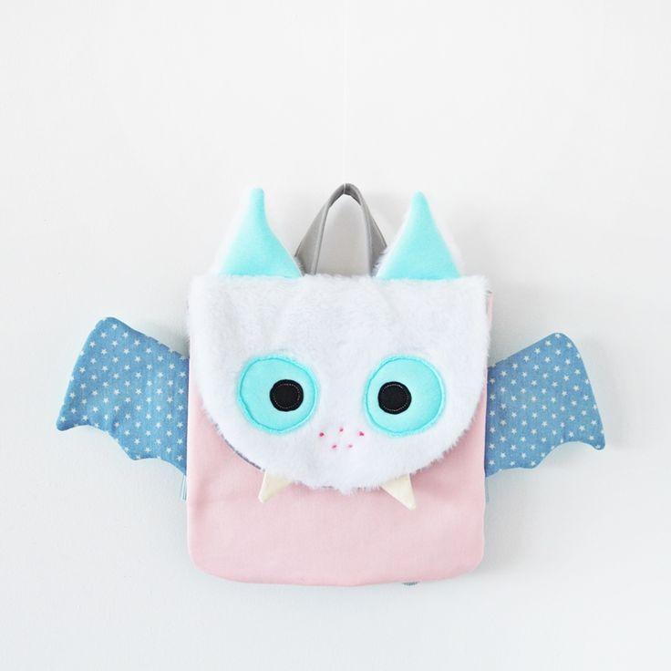 Sklep internetowy Lady Stump | Plecak Mały Nietoperz #backpack #plecak #pink #bat #batman #blue #handmade #kids #school #gift #kidsdesign #ladystump #poland ladystump.com