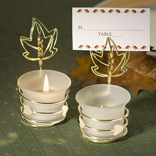 Autumn-Inspired Place Card Holder Candle FavorsWedding Favors, Place Cards, Candles Holders, Autumn Cards, Holders Candles, Candles Favors, Places Cards Holders, Fall Wedding, Placecards