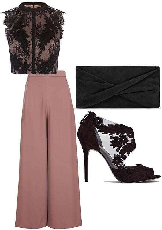 TALISHA – STYLED OUTFIT | The Stylist's Stamp | Styled for Body Type | Hourglass & Strawberry | Styled Fashion | Black Lace Top, Topshop Palazzo Pants, Stiletto Sandals from Reiss, Suede clutch Handbag | Shopping | OOTD