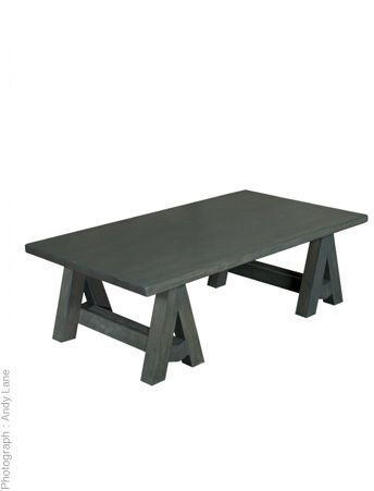 Solid oak coffee table. Finished in charcoal or white wash. Hand crafted to order.