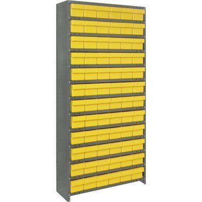 Quantum Storage Closed Shelving System With Super Tuff Drawers - 18in. x 36in. x 75in. Rack Size, Yellow, 13 Shelves, 72 Bins by Quantum. $699.99. Save time locating small parts using our tough Euro Drawers above with our sturdy open/closed steel shelving. 36in wide x 75in or 39in high units have heavy-duty, high-grade shelving with a 400-lb. capacity per shelf. Closed shelving provides a dust free environment for stored parts. Shelving is gray, one color bin per unit. ...