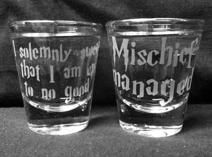 Set of 2 Solemnly Swear/Mischief Managed Shot Glasses. $12.00, via Etsy.