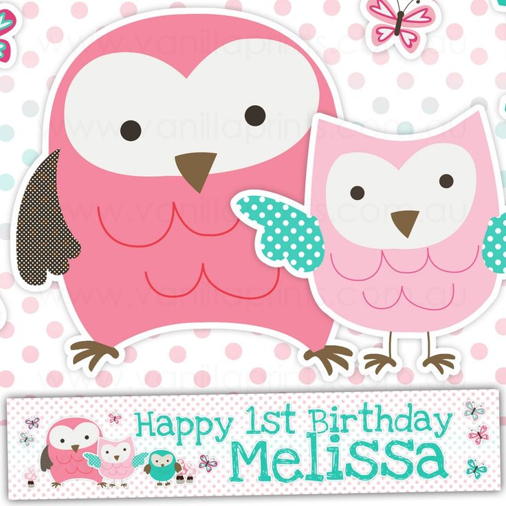 CUTE LITTLE OWLS Kids Birthday Party Banner