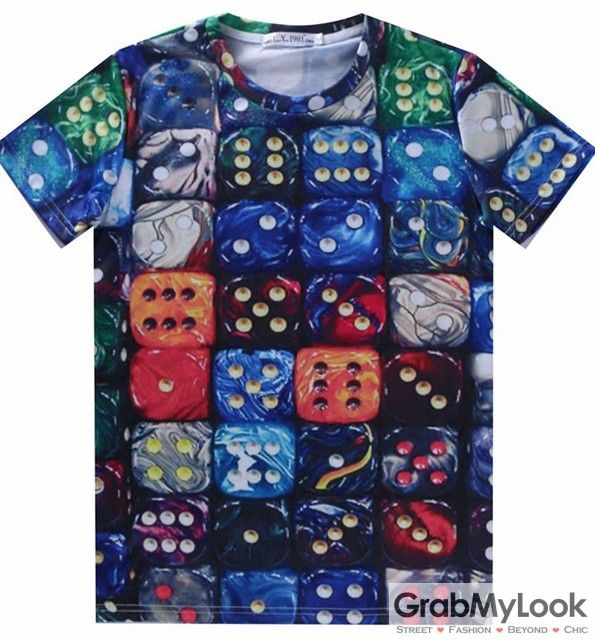 GrabMyLook Colorful Dices Mens Short Sleeves T Shirt