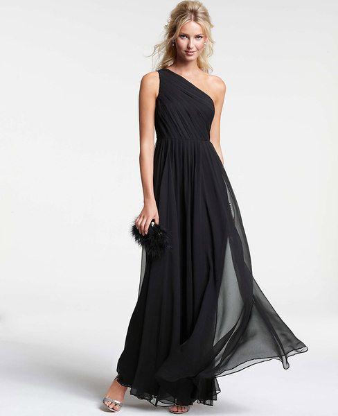 Silk georgette pleated one shoulder gown evening wear for Silk georgette wedding dress