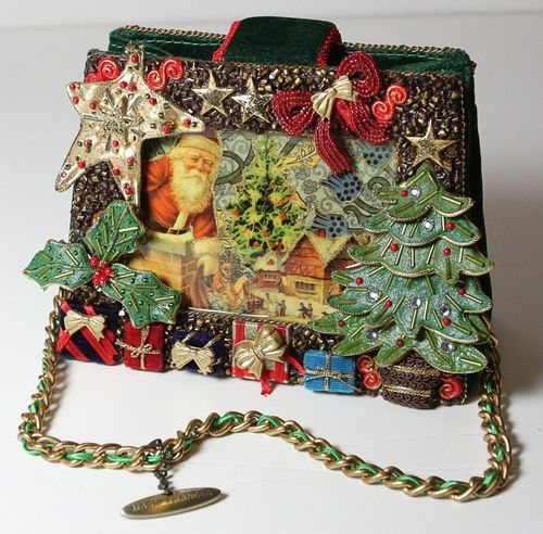 Santa Christmas Gifts Jeweled Mary Frances Handbag