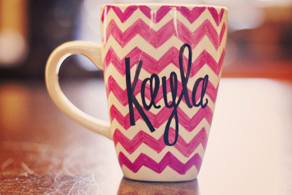 Personalized Chevron/Quote Coffee Mug. I like this and it even has my name on it!
