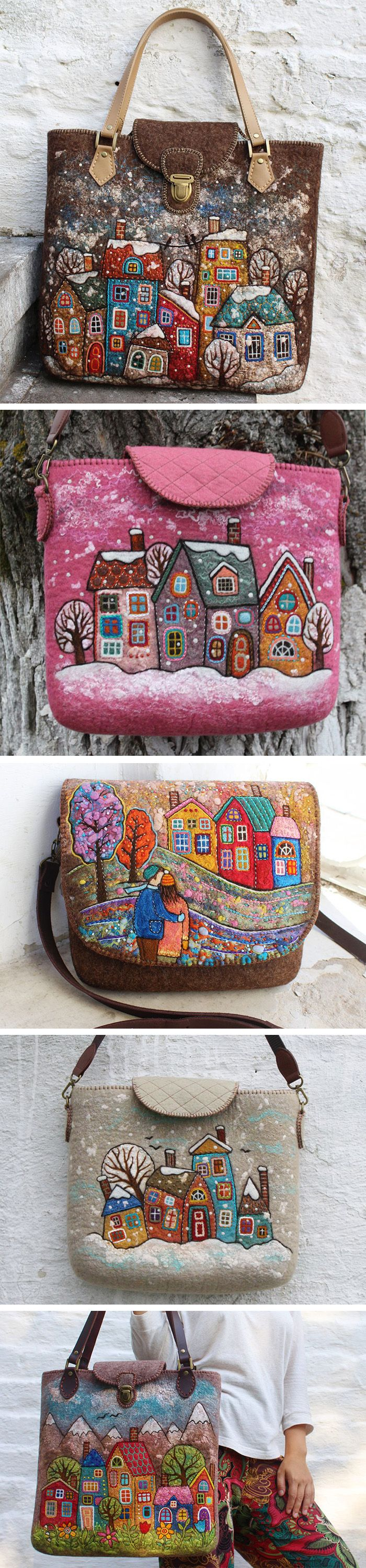 Colorful hand felted and embroidered bags by Natalya Gourina (Top 2017)
