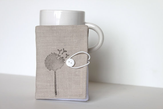 Grey Linen Hand Stamped Tea Wallet.  A perfect little place to keep all your tea bags! If you're sick of digging around in your purse to find a tea bag only to pull it up totally squished and ripped open this item is for you. Each wallet holds 4 tea bags and closes with an elastic cord and button. This little wallet would also be perfect for holding your sugar replacements or even business cards!