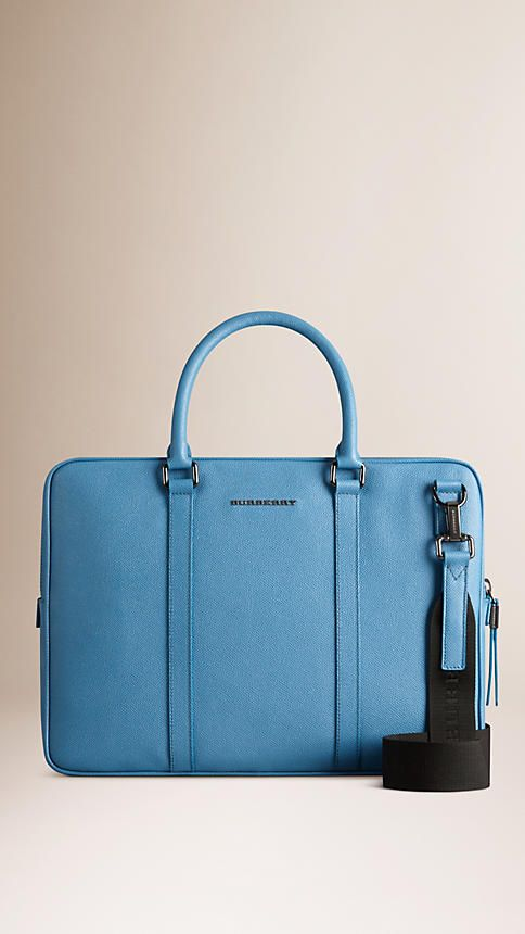Airforce blue London Leather Crossbody Briefcase - Image 1