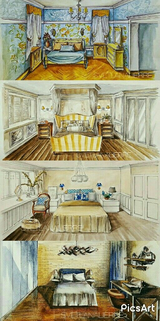 Bedrooms watercolour illustrations.