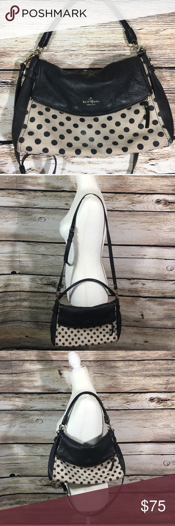 Kate Spade cobble hill canvas polka dot handbag Kate Spade New York Polka Dot Printed Handbag in black/cream, leather and canvas material. Two separate  compartments, one is magnetic closure and the other is zip. Large in size, dual strap, cross body strap is removable. Overall great condition with plenty of life left! Color is slightly faded on polka dots kate spade Bags Shoulder Bags