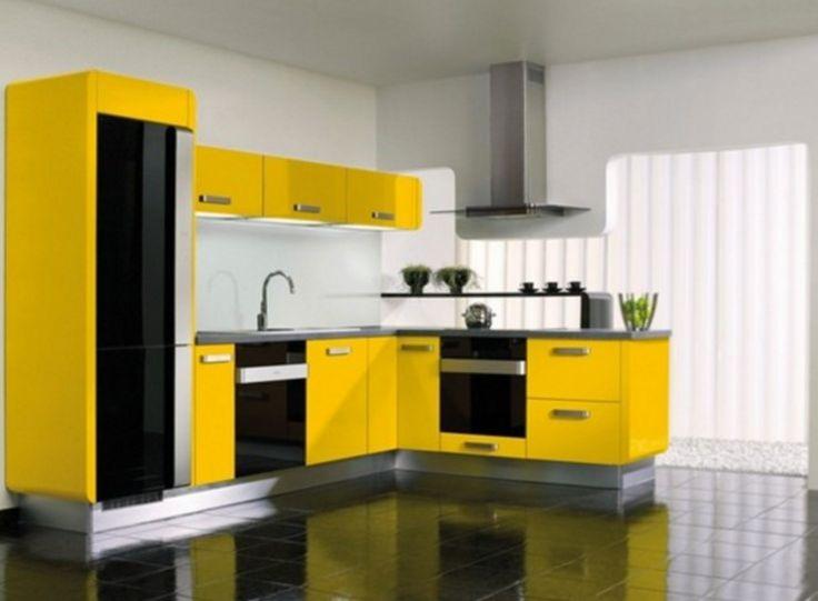 en güzel sarı renk mutfak modelleri