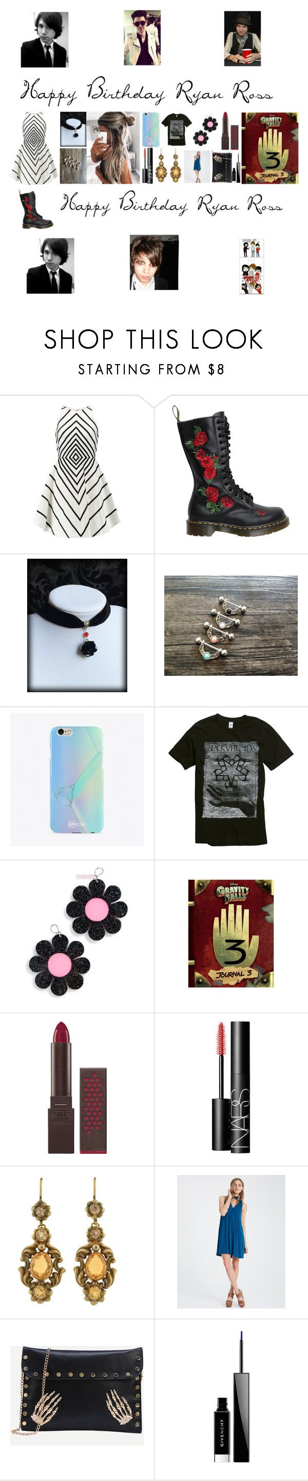 """""""Ryan Ross❤️"""" by cassieee-m ❤ liked on Polyvore featuring Halston Heritage, Dr. Martens, UPROSA, Marina Fini, Burt's Bees, NARS Cosmetics, Givenchy and Doppelganger"""