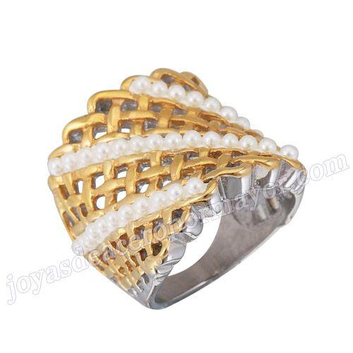 Material: Acero Inoxidable   Nombre:Anillo oro para las mujeres de acero con perla de forma malla   Model No.:SSRG218