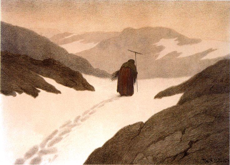 Theodor Kittelsen, Pestilence on the Mountain, from Svartedauen (Black Death), 1896