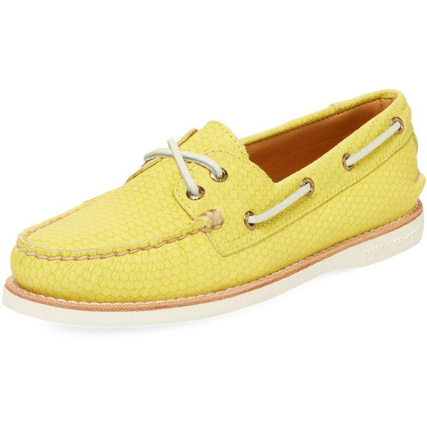 Sperry Women's Gold Cup Embossed Leather Boat Shoe - Yellow, Size 10 ($99) ❤ liked on Polyvore featuring shoes, loafers, yellow, yellow shoes, sperry, deck shoes, yellow leather shoes and sperry shoes