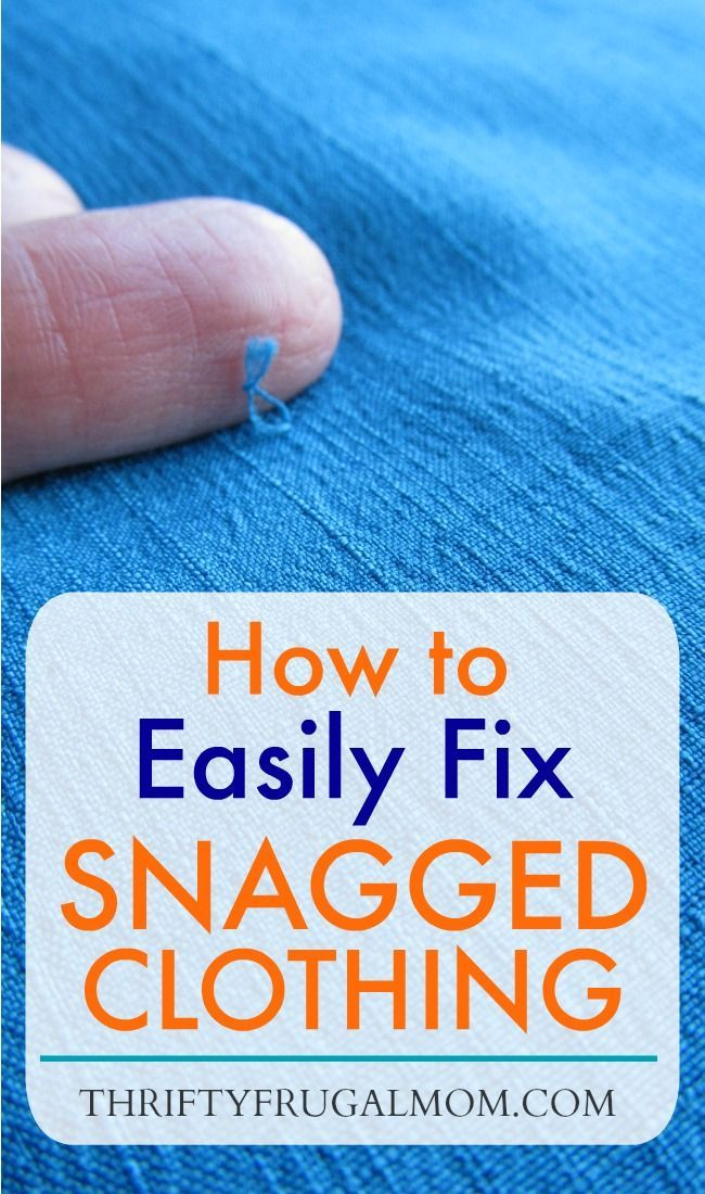 You don't need anything fancy to fix a snag in clothing...just a needle and thread! Learn how to fix a snag in no time. I've used this simple trick on sweaters, dresses and even my son's dress pants! via @FrugalMomL