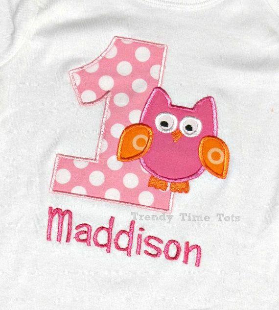 1st Birthday Girl Owl Number ONE Onesie  by TrendyTimeTots on Etsy, $20.00