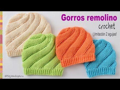 Gorros remolino tejidos a crochet imitación dos agujas (talla 1 por bebés) - Tejiendo Perú - YouTube
