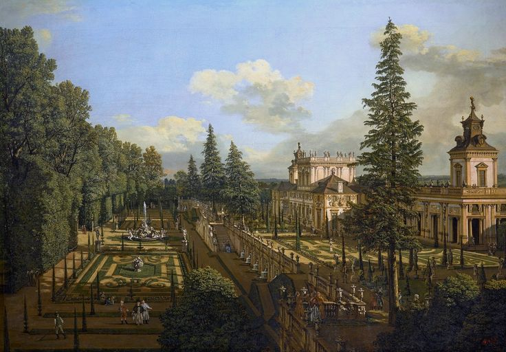 "Wilanów Palace as seen from north-east by Bernardo Bellotto, 1777 (PD-art/old), Zamek Królewski w Warszawie (ZKW), commissioned by Stanislaus Augustus, after 1771 the palace was owned by King's cousin Izabela Lubomirska ""The Blue Marquise"""